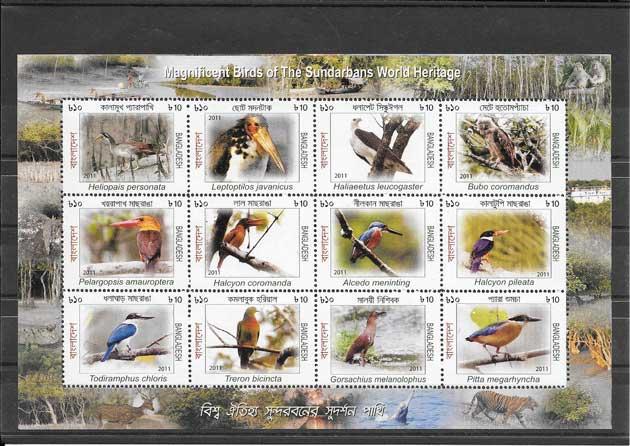 Sellos  filatelia Bangladesh fauna diversa