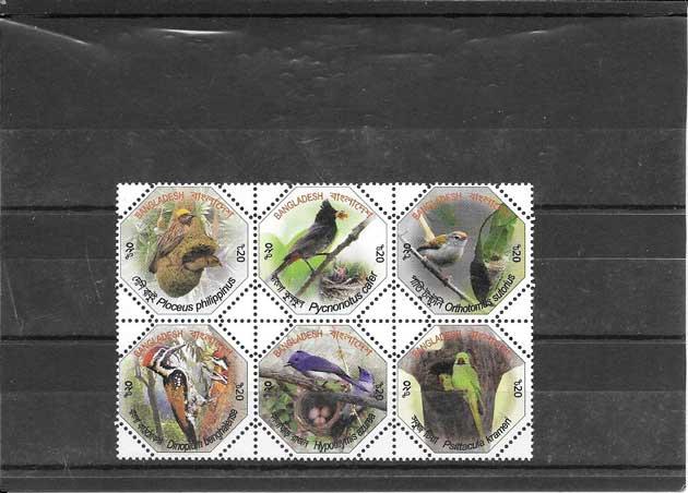 Sellos  filatelia serie de fauna y flora de Bangladesh