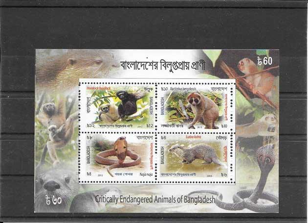 Colección sellos fauna  animales en peligro de extinción
