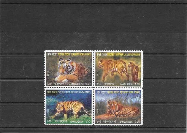 Colección sellos fauna - tigres de Bangladesh