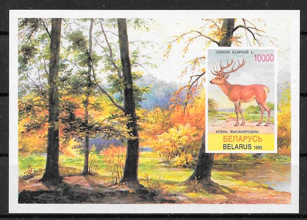 colección sellos fauna Bielorrusia 1995