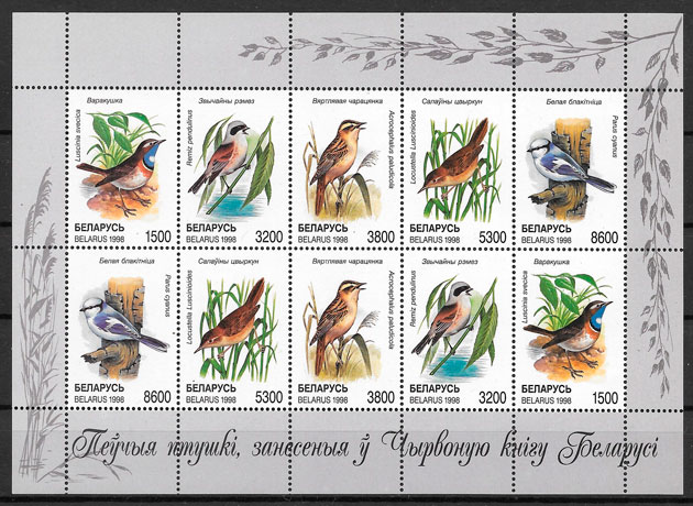 filatelia colección fauna Bielorrusia 1998