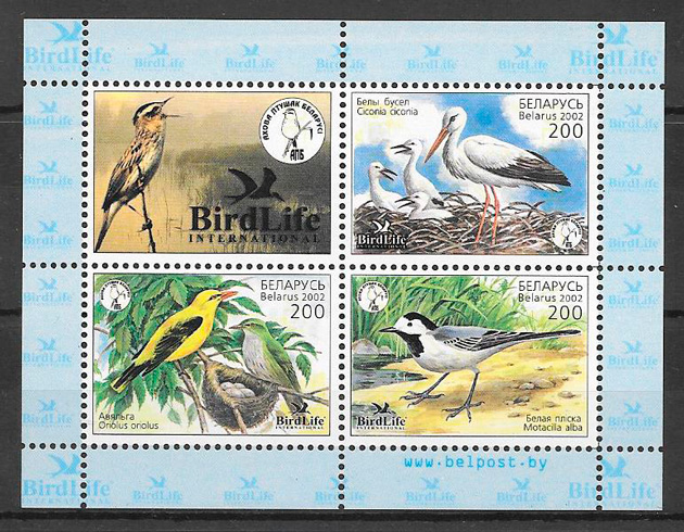 colección sellos fauna Bielorrusia 2002