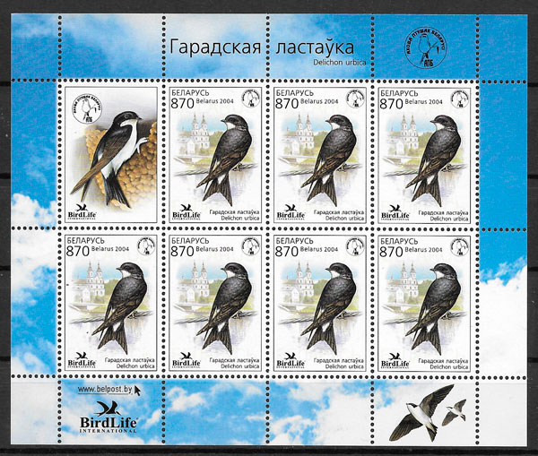 colección sellos fauna Bielorrusia 2004