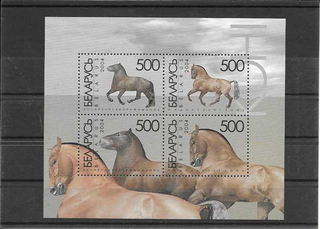Estampillas hojita bloc de caballos de Bielorrusia