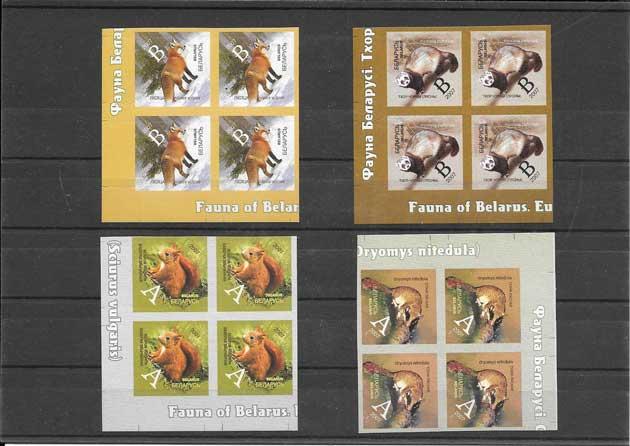 Colección sellos serie, bloque de 4 y hojitas serie corriente fauna salvaje