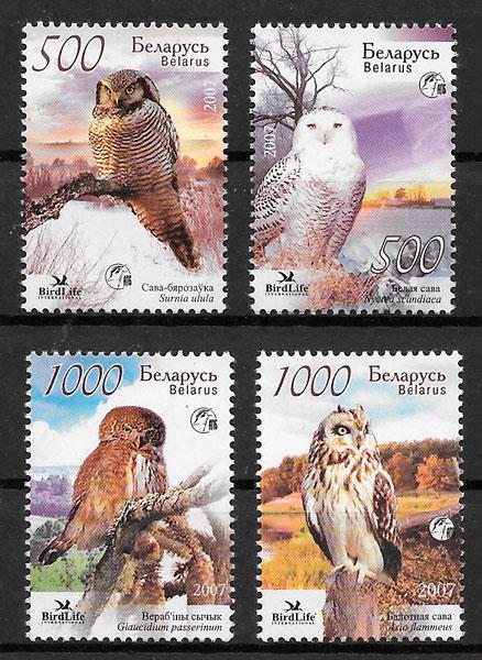filatelia fauna Bielorrusia 2007