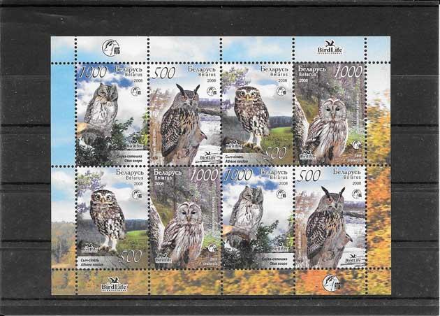 Colección sellos aves rapaces de Bielorrusia.