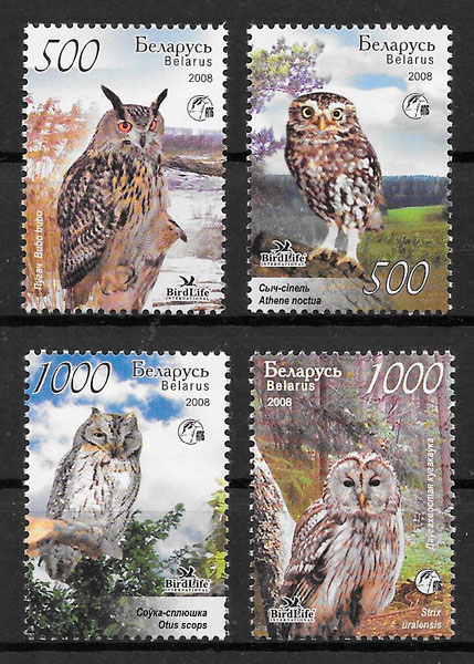 filatelia fauna Bielorrusia 2008