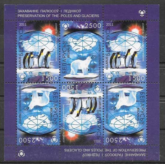 Colección sellos protección de las zonas polares Bielorrusia