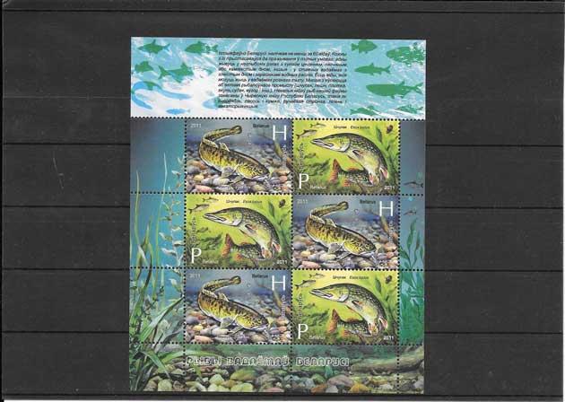 Estampillas fauna marina peces.
