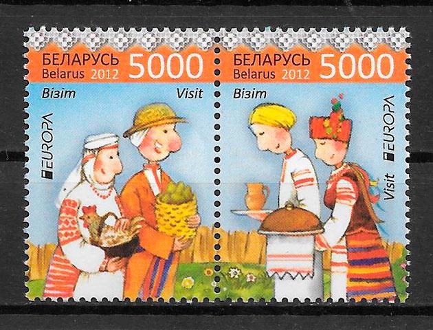 colección sellos tema Europa Bielorrusia 2012