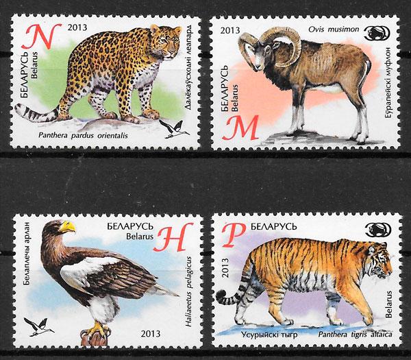 filatelia colección fauna Bielorrusia 2013