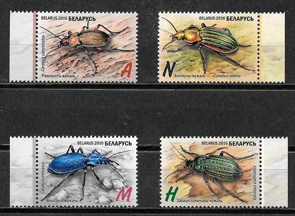 colección sellos fauna bielorrusia 2016