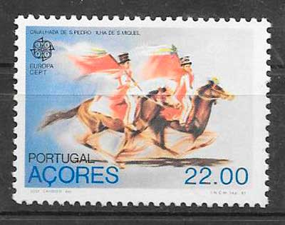 sellos tema Europa Azores 1981