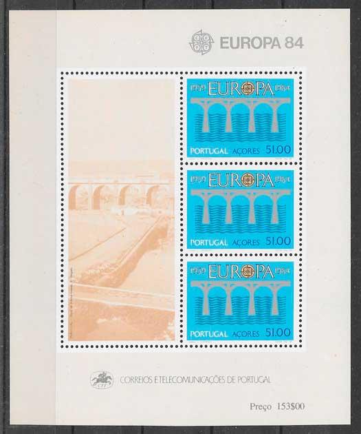 filatelia colección tema Europa Azores 1984