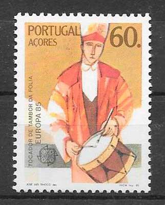 filatelia colección te,a Europa Azores 1985