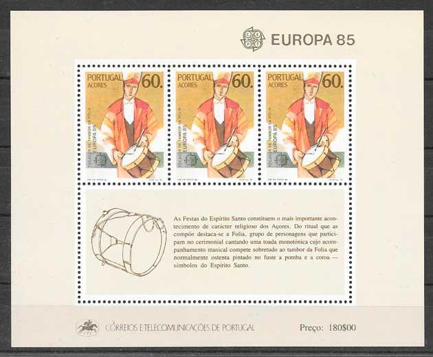 filatelia colección tema Europa Azores 1985