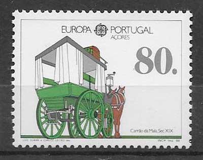 sellos tema Europa Azores 1988