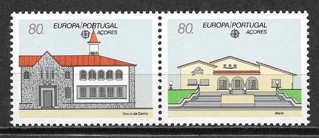 filatelia tema Europa Azores 1990