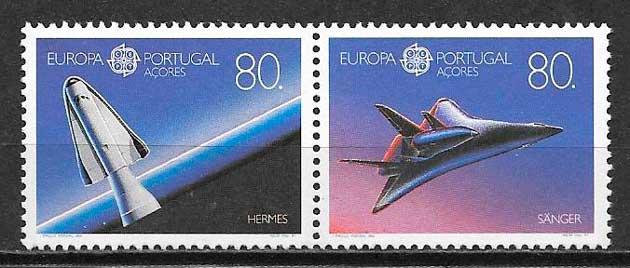 filatelia colección tema Europa Azores 1991