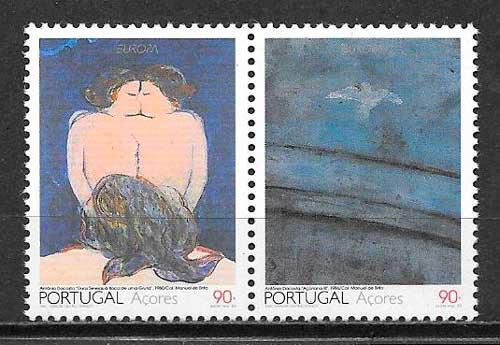 colección sellos tema Europa 1993 Azores