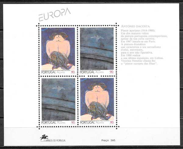 colección sellos tema Europa Azores 1993