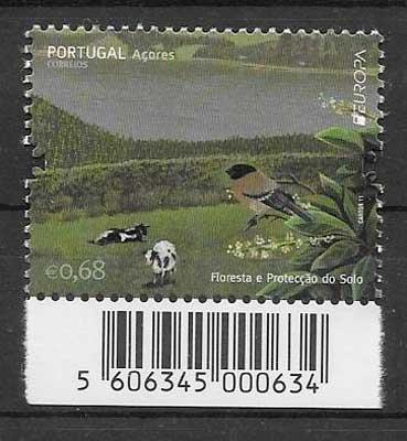 sellos tema Europa Azores 2011