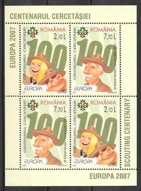 filatelia colección tema Europa Rumanía 2007