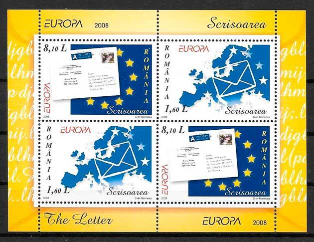 filatelia colección tema Europa Rumamia 2008