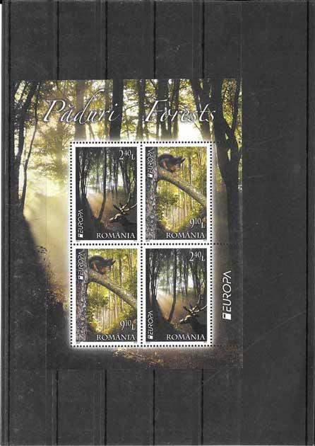 Colección sellos Tema Europa Rumanía Los Bosques hojitas