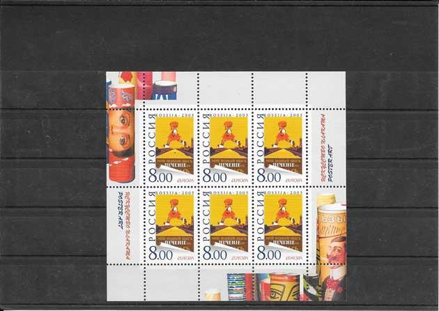 Colección sellos Tema Europa Rusia arte ruso en una hojita