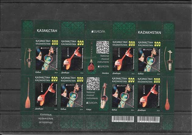 Colección sellos Tema Europa Kazakstán Instrumentos Musicales
