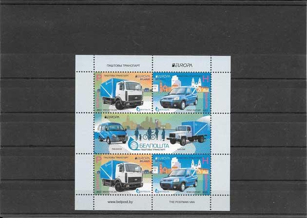 Colección sellos Tema Europa Vehículos Postales Hojita y 2 Mini Pliegos