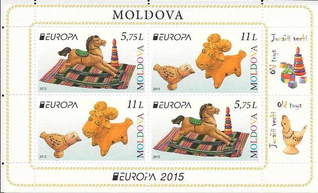 Sellos Tema Europa-Carnet-Moldavia-2015-02
