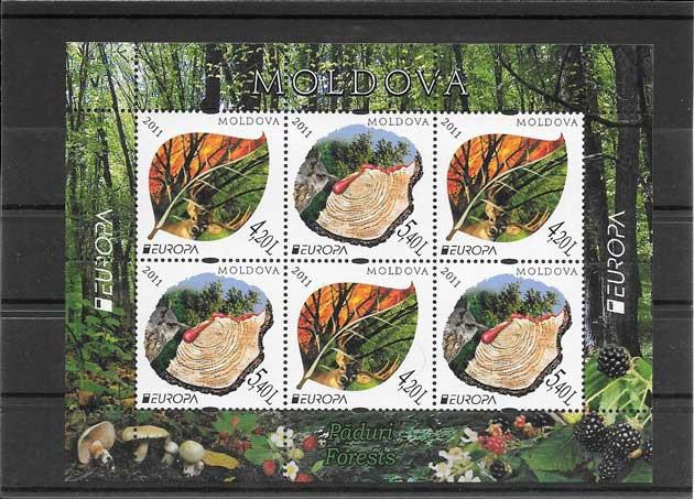 Colección sellos Tema Europa Los Bosques Moldavia