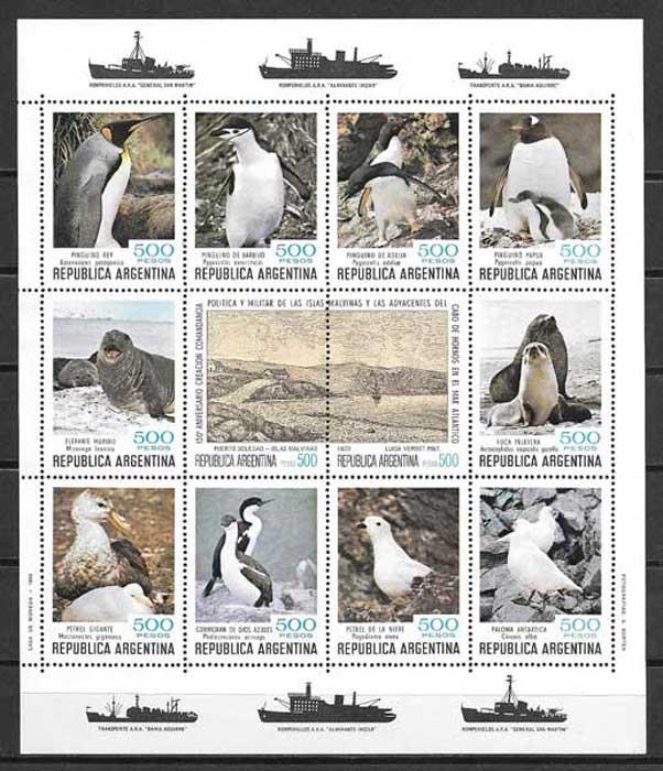sellos fauna Argentina 1980