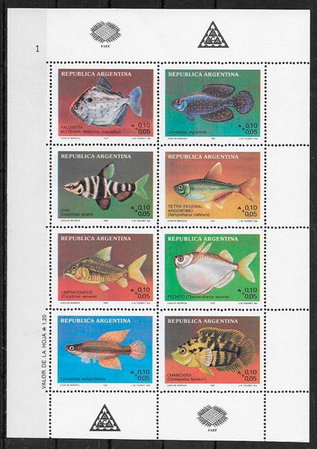 sellos fauna Argentina 1987