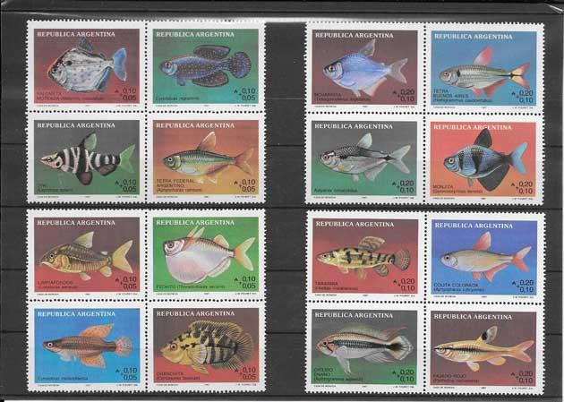 Sellos filatelia serie fauna variada de peces