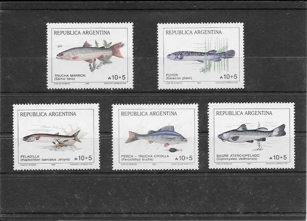 Sellos filatelia fauna peces Argentina