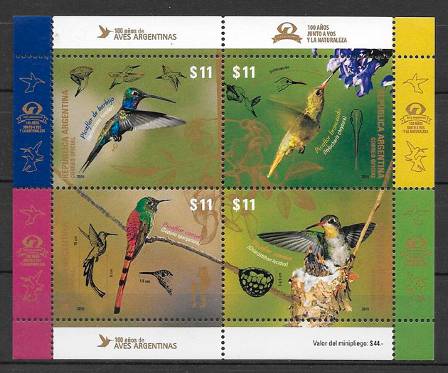 filatelia colección fauna Argentina 2016