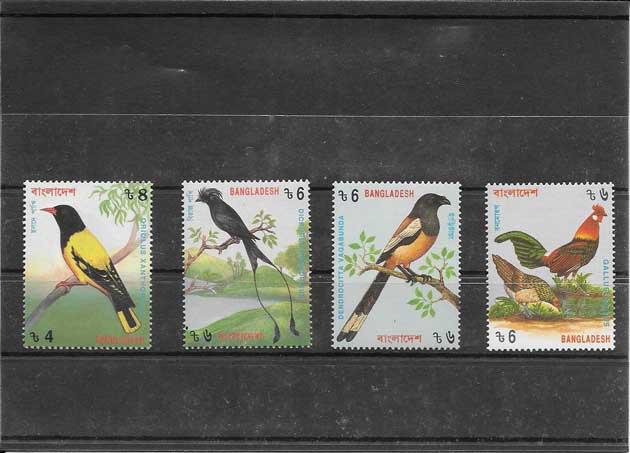Sellos serie de fauna aves Bangladesh