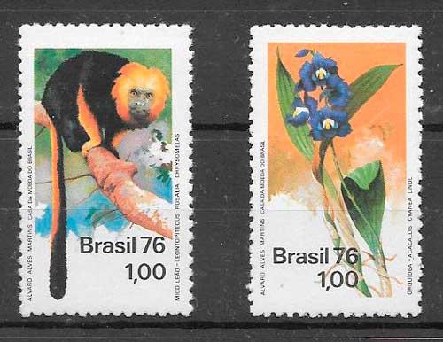 sellos Brasil fauna 1976