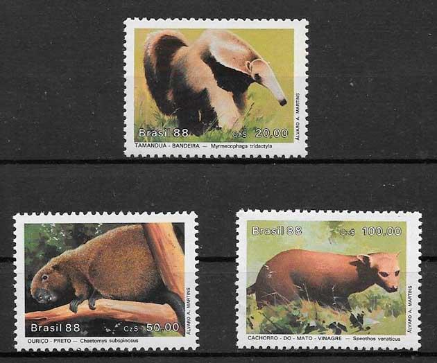 sellos fauna 1988 Brasil