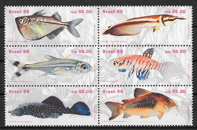 sellos fauna Brasil 1988