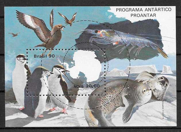 colección sellos fauna Brasil 1990