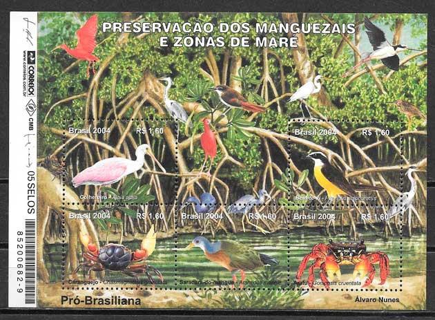 filatelia colección fauna Brasil 2004