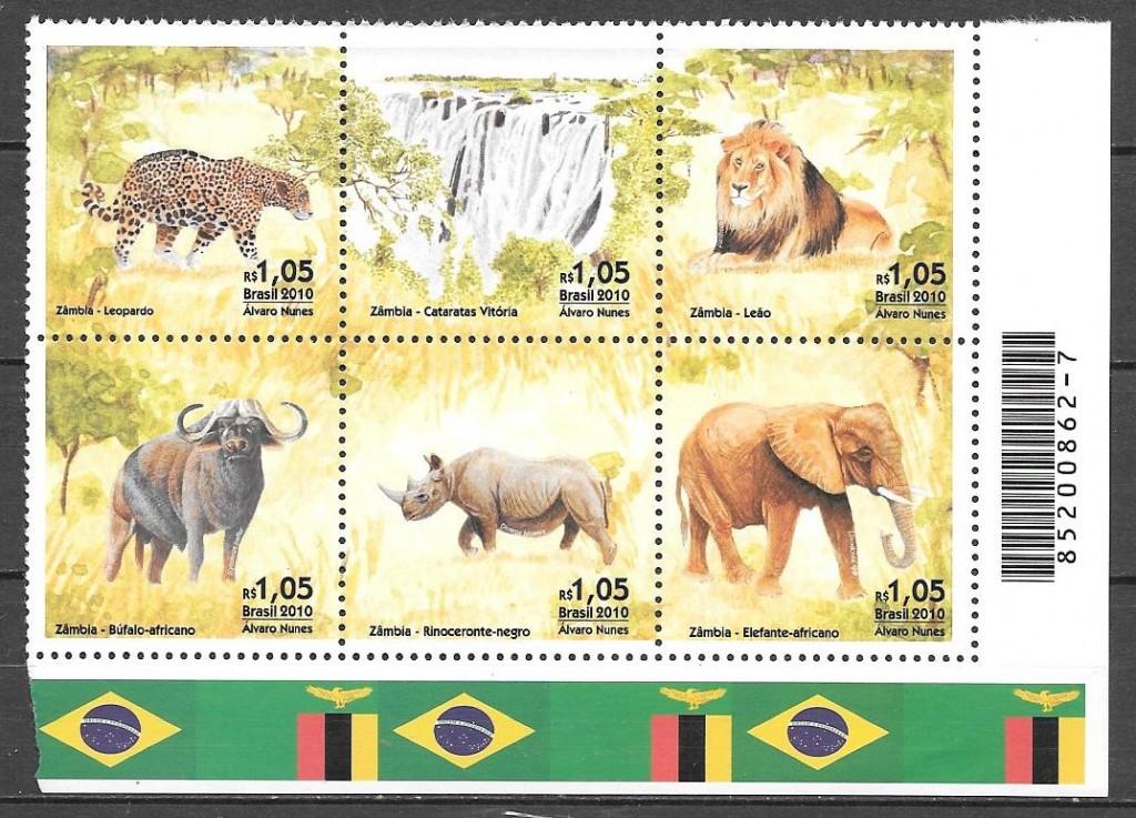 filatelia colección fauna Brasil 2010