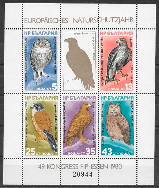 sellos fauna Bulgaria 1980
