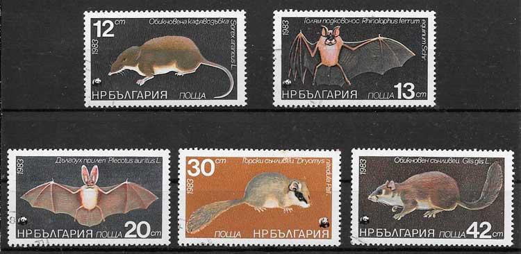 colección sellos fauna Bulgaria 1983